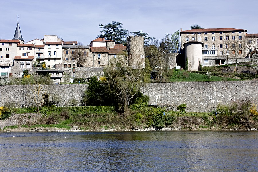 English:  Tower of Burgundians and the medieval village.