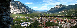 Salorno in the Adige valley, view from the Haderburg