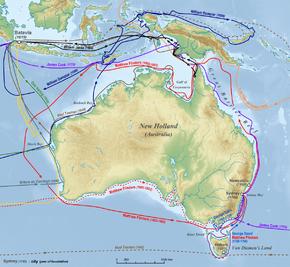 خريطة أسترالية بأسهم ملونة توضح طرق المستكشفين حول ساحل أستراليا وحول الجزر المحيطة بها