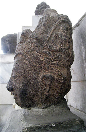 Lamuri Kingdom - Avalokiteshvara's head discovered in Aceh. The images of Amitabhas are adorned his crown. Srivijayan art c. 9th century, National Museum of Indonesia.