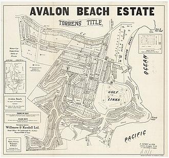 Avalon Beach, New South Wales - Image: Avalon Beach Estate Plateau Rd, Park Reserve, 1921 1926