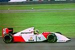 Ayrton Senna - Mclaren MP4-8 during practice for the 1993 British Grand Prix (32873580103).jpg