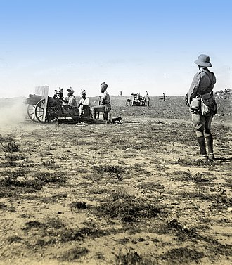 Gaza Strip - British artillery battery in front of Gaza, 1917