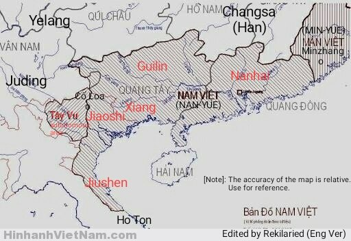 Bản đồ khu tự trị Tây Vu và nước Nam Việt.