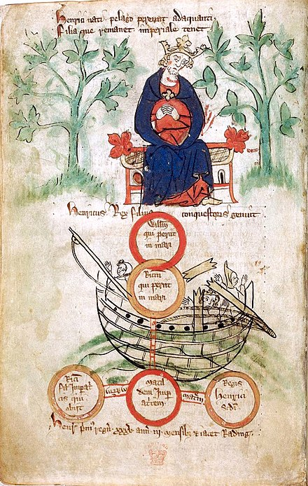 Early 14th century depiction of Henry I and the sinking of the White Ship in 1120 BL Royal 20 A. ii, f. 6v. Henry I & White Ship.jpg