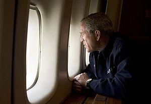Timeline of Hurricane Katrina - President Bush observes damage from Hurricane Katrina over New Orleans, August 31.