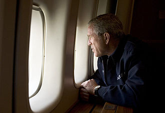 Timeline of Hurricane Katrina - President Bush observes damage from Hurricane Katrina over New Orleans, August 31.