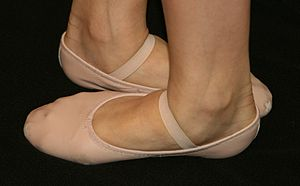 Ballet shoe - Leather ballet shoes, with feet shown in fifth position