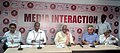 Bandaru Dattatreya briefing the media about the activities of ESIC and Labour Ministry at the inauguration of the ESIC Sub Regional Office, in Vijayawada on May 30, 2015.jpg