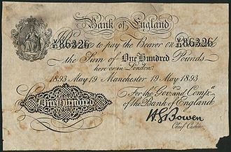 Horace Bowen - A Horace Bowen signed Bank of England 1893 £100 banknote.