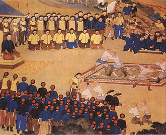 Manchu wrestlers competed in front of the Qianlong Emperor Banquets-at-a-frontier-fortress.jpg