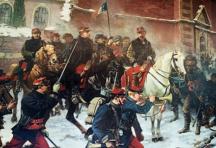 The Battle of Bapaume (1871) took place from 2-3 January 1871, during the Franco-Prussian War in and around Biefvillers-les-Bapaume and Bapaume. The Prussian advance was stopped by General Louis Leon Cesar Faidherbe at the head of the Armee du Nord. Bapaume-tableau-Faidherbe.jpg