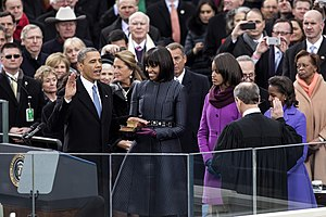 Second inauguration of Barack Obama - Barack Obama takes the oath of office for his second term.