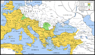 Map of the barbarian invasions against the Roman Empire