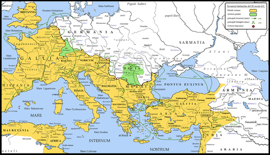 Barbarian invasions against the Roman Empire in the 3rd century