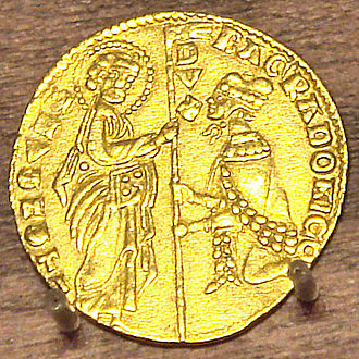 Doge of Venice - Gold coin of Bartolomeo Gradenigo (1260-1342): the Doge kneeling before St. Mark.