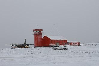 Marambio Base - Argentine C-130 and control tower, Marambio Airport
