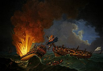 Action of 6 October 1779 - Battle between the French frigate Surveillante and the British frigate Quebec, 6 october 1779. Auguste-Louis de Rossel de Cercy. Quebec on the left is seen exploding.