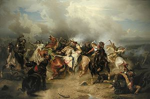 Battle of Lutzen by Carl Whalbom depicting King Gustavus Aolphus falling from a horse mortally wounded in a melee