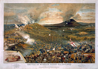 Union troops swarm Missionary Ridge and defeat Bragg's army. Published 1886 Battle of Missionary Ridge McCormick Harvesting.jpg
