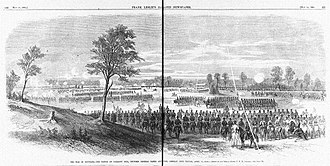 Battle of Pleasant Hill - Battle of Pleasant Hill by C. E. H. Bonwell — as illustrated in Frank Leslie's Weekly, May 14, 1864.