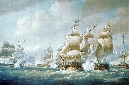 French and British ships fighting at the battle of Santo Domingo (1806) Battle of Santo Domingo (French and British ships).jpg