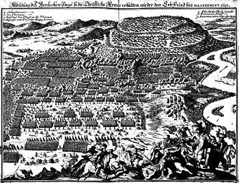 Contemporary depiction of the Battle of Slankamen (Theatrum Europaeum 1702)