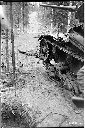 Battle of Ilomantsi - Destroyed Soviet T-26 tank.