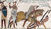 Harold's death at the Battle of Hastings depicted on the Bayeux tapestry