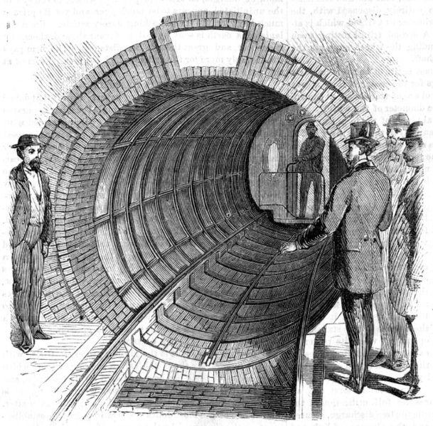 Pneumatische Untergrundbahn, historischer Stich - Quelle: Wikimedia