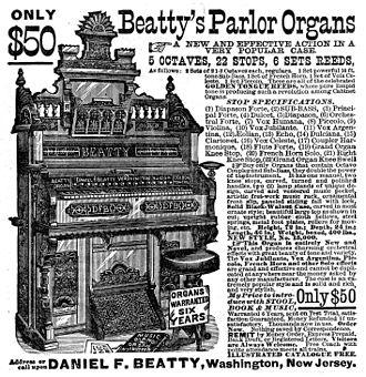 Pump organ - Beatty's Parlor Organ, 1882