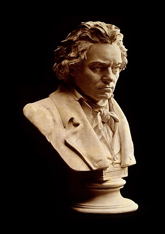A bust by Hugo Hagen based upon Beethoven's life mask Beethoven bust statue by Hagen.jpg