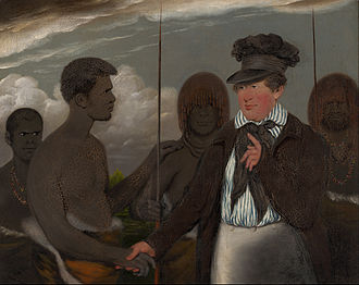 Aboriginal Tasmanians - Benjamin Duterrau, Mr Robinson's first interview with Timmy, 1840