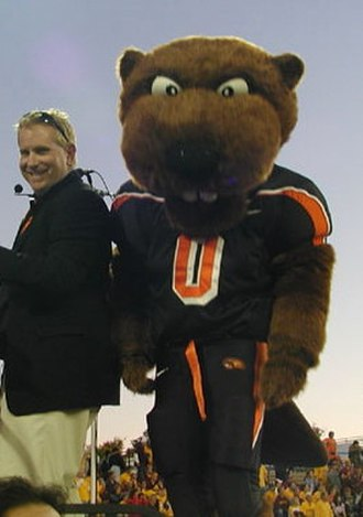Benny Beaver - Benny (Patrick H.) with former Oregon State Marching Band director Brad Townsend