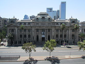 Biblioteca Nacional de Chile - Front view of the National Library of Chile building