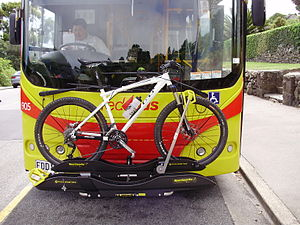 Public transport in Christchurch - Sportworks double bicycle carrier mounted on a Redbus