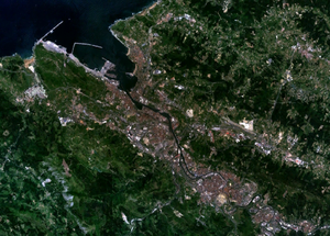 Greater Bilbao - Gran Bilbao real color image taken by NASA's Landsat satellite.