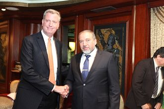 Bill de Blasio - Bill de Blasio and Israeli Foreign Minister Avigdor Lieberman in 2012