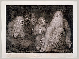 English: An early engraving by Blake for the B...