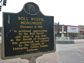 Enterprise, Alabama - Historical marker and Boll Weevil Monument in downtown Enterprise