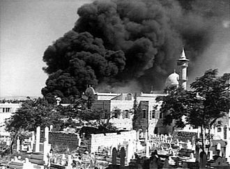 Regia Aeronautica - Destruction of Muslim graveyard and the Istiklal Mosque by Italian bombers during the bombing of Haifa, September 1940.
