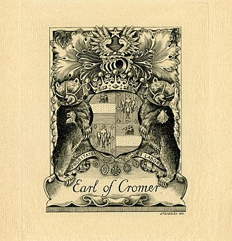 Earl of Cromer - Bookplate by Henry Badeley showing the coat of arms of the Earl of Cromer