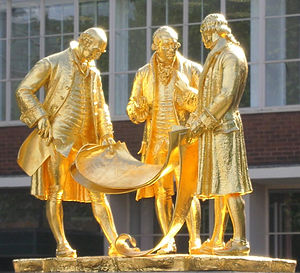 Newly re-gilded statue of Boulton, Watt and Mu...