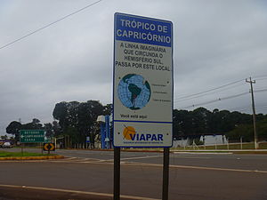 Tropic of Capricorn - Sign marking the tropic in Maringá, Brazil