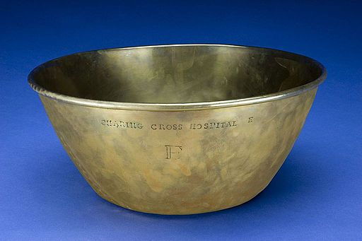 Brass wash basin used in Charing Cross Hospital, London, Eng Wellcome L0057995