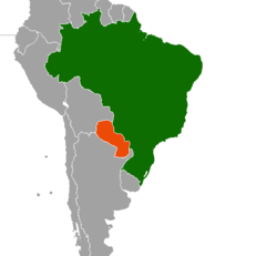 Map indicating locations of Brazil and Paraguay
