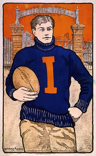 Illinois Fighting Illini - A Bristow Adams poster of an Illini football player