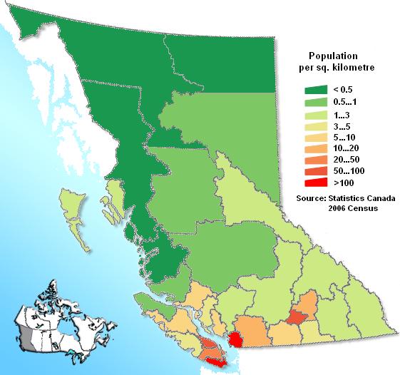 British Columbia 2006 population density