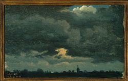 Jean-Michel Cels: Stormy Sky over Landscape with Distant Church