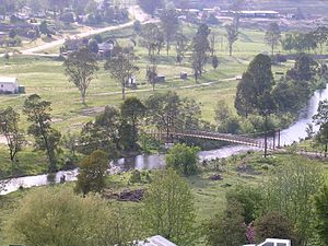 Buchan, Victoria - Buchan landscape looking from township toward footbridge over the Buchan River and football ground